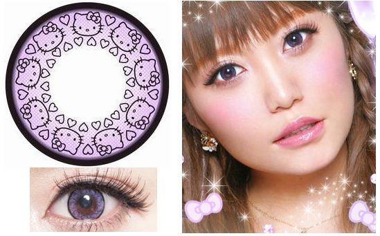 Violet-Colored Hello Kitty Contact Lenses