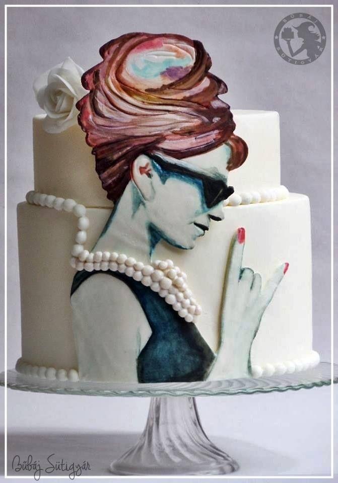 Audrey Hepburn cake hand painted,painting cake,watercolor cake,audrey hepburn,cake,pearl cake,white cake follow me: https://www.facebook.com/BubajSutigyar/