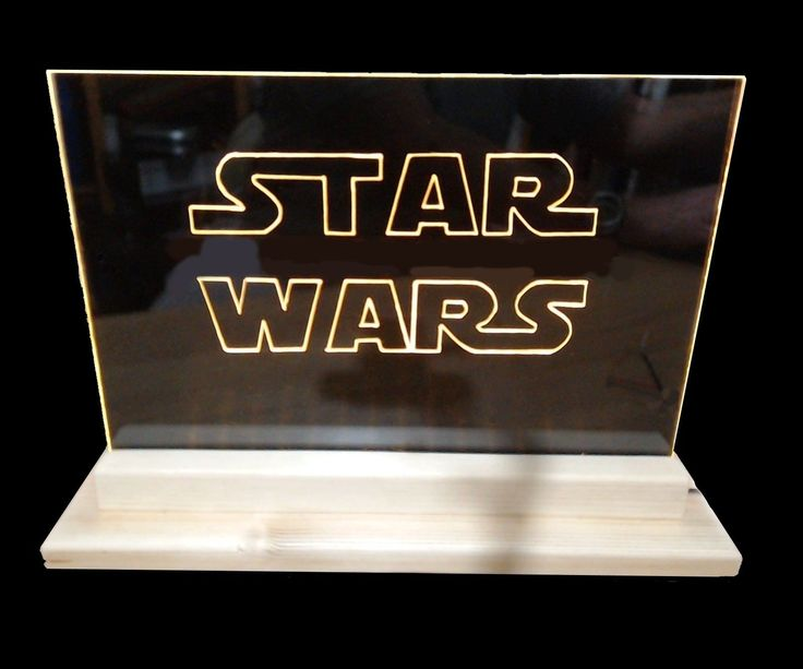 "LED edge lit sign.The sign is engraved on a clear acrylic sheet. I have used an A4 sized 3mm thick sheet, which is common in Europe. In the US where A4 sheets are not as easy to obtain then you can use 8"" x 12"" x 1/8"" which is a similar size.To obtain the Star Wars effect I have used a gloss black acrylic sheet behind the clear sheet.A Dremel 290 tool was used for the engraving but if you have a cnc router or lase..."