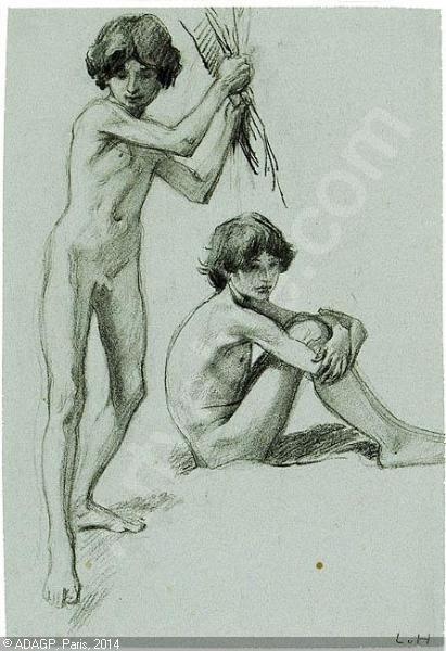 HOFMANN Ludwig von, 1861-1945 (Germany), Figurenstudie eines Knaben
