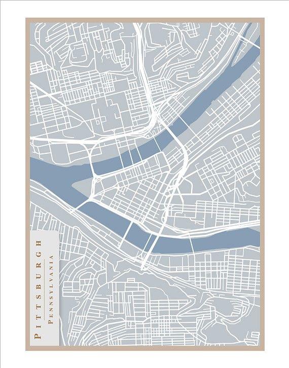 Pittsburgh Street Map  11x14 print Pittsburgh art by delovelyArts, $19.50