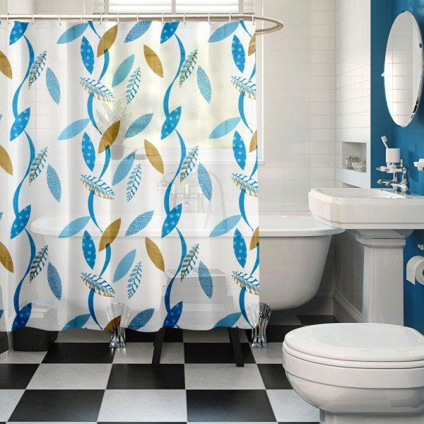Marvelous Blue Color Pattern   Buy Premium Ring Rod Bathroom/Shower Curtains Online  At Low Price