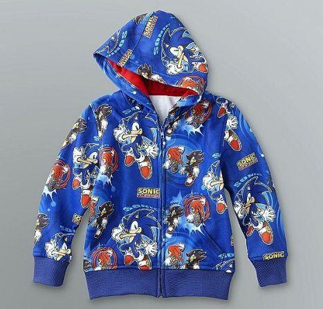 Sonic The Hedgehog Boy S Size 4 Blue Hoodie Zipper Jacket