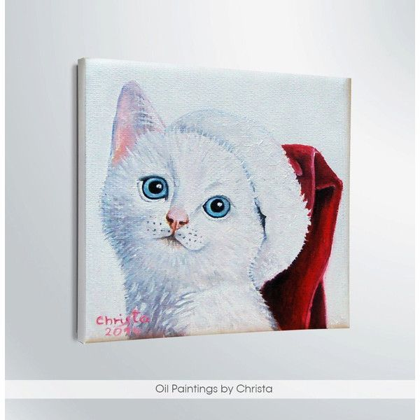 Custom cat portrait, Christmas cat, Christmas gift, Christmas cap. (€92) ❤ liked on Polyvore featuring home, home decor, wall art, christmas wall art, christmas oil paintings, personalized wall art, cat signs and personalized home decor