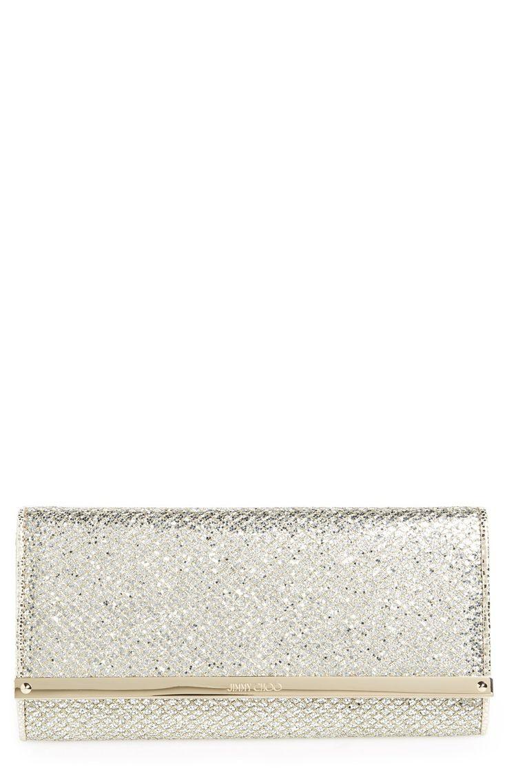 Silver Sparkle Bridal Clutch -  'Milla' Glitter Wallet on a Chain