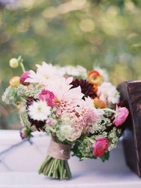 ranunculus and dahlia bouquet by jmflora design, photographer amelia johson www.gmichaelsalon.com