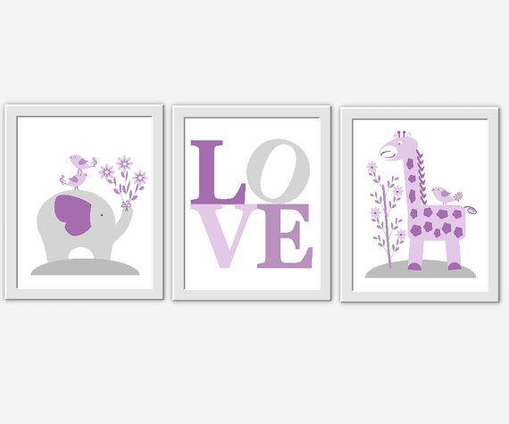 LAVENDER Baby Nursery Wall Art Purple Gray Elephant Giraffe Jungle Safari Animals Baby Nursery Decor Baby Girl Prints Girl Room Decor Prints 3 $24
