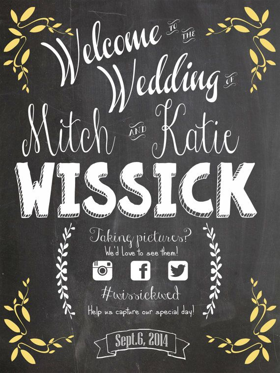 Printable Wedding Chalkboard sign Social Media by TinyBitOfWhimsy