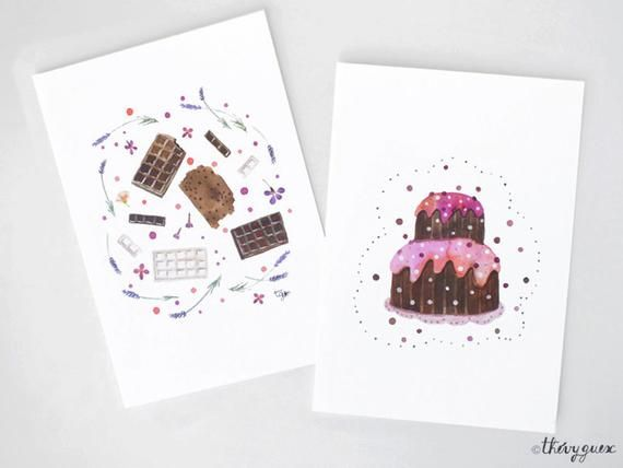 Chocolate Cake Watercolor Card Chocolake Lover Chocolate