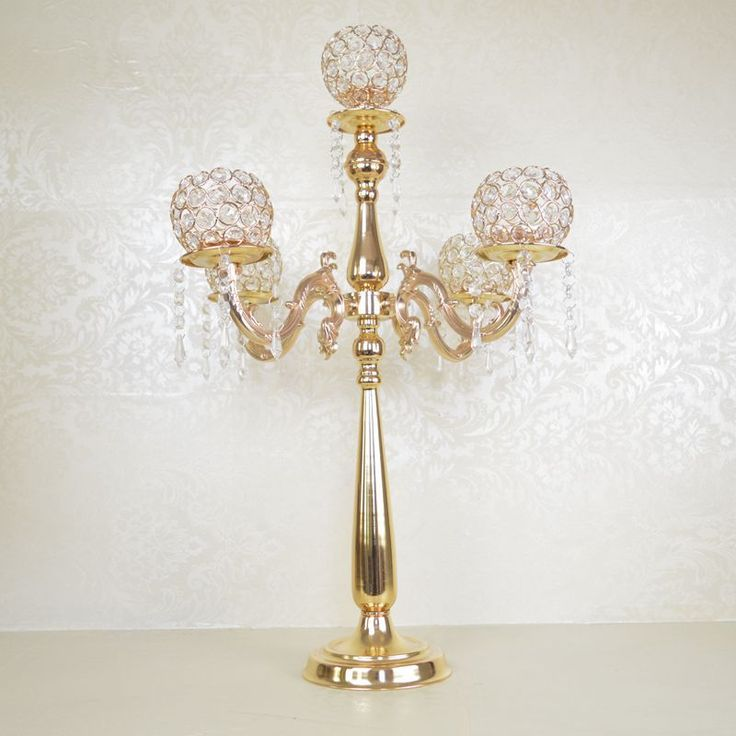 75cm Tall 5-arms Gold candelabras,wedding crystal candle holder table centerpiece