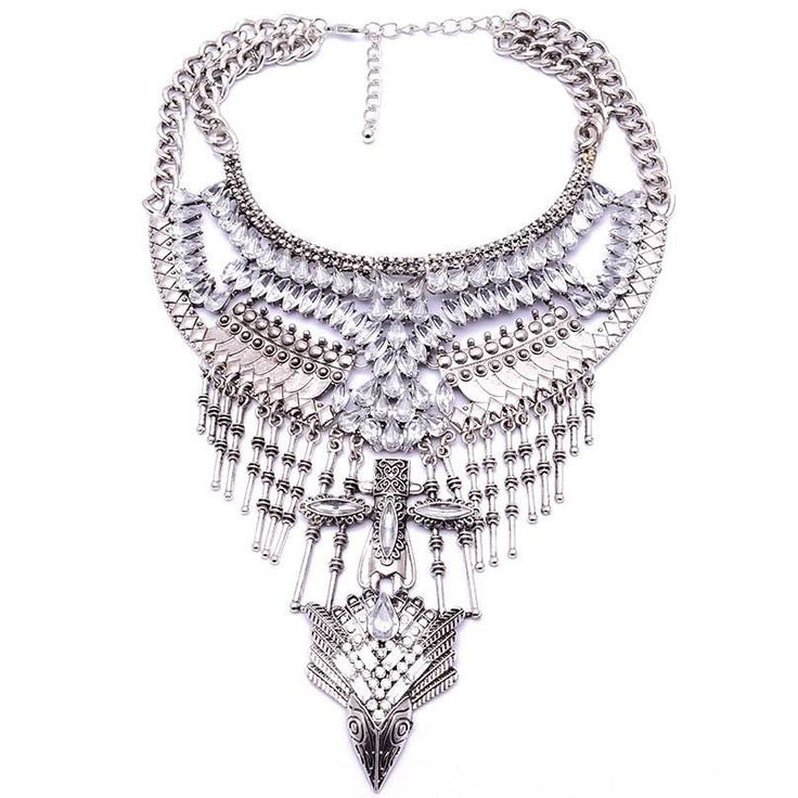 Fashion Statement Necklace - Yareli Tribal-Inspired Aztec Maxi Necklace With Crystals & Fringe