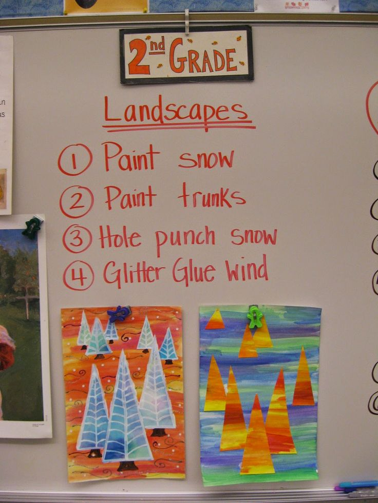 2nd Grade, 2nd grade artists reviewed the art genre of landscapes.  We discussed how artists show the art element  of space in many different ways including: overlapping, height on a page, how visually clear something is etc.  We also learned the vocabulary for where something is located in the space of an artwork: Foreground, Middleground, and Background.