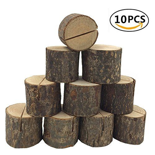 From 4.50 Dproptel 10 Pack Rustic Real Wood Base Wedding Table Name Number Holder Party Decoration Card Holders Picture Memo Note Photo Clip Holder (wood Holder)