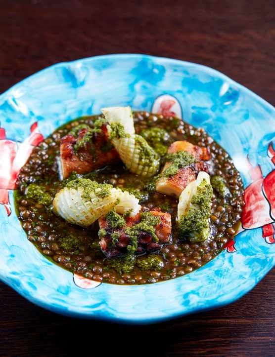 Tender pieces of octopus and florettes of Cornish squid are served on a bed of glossy lentils with tiny cubes of pancetta and an umami-rich green chilli salsa verde. This recipe is easy, serves four and isn't as scary as it sounds!