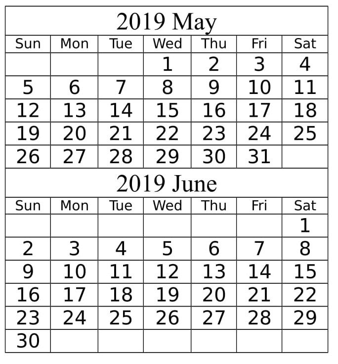 May June 2019 Calendar Printable Template With Holidays With