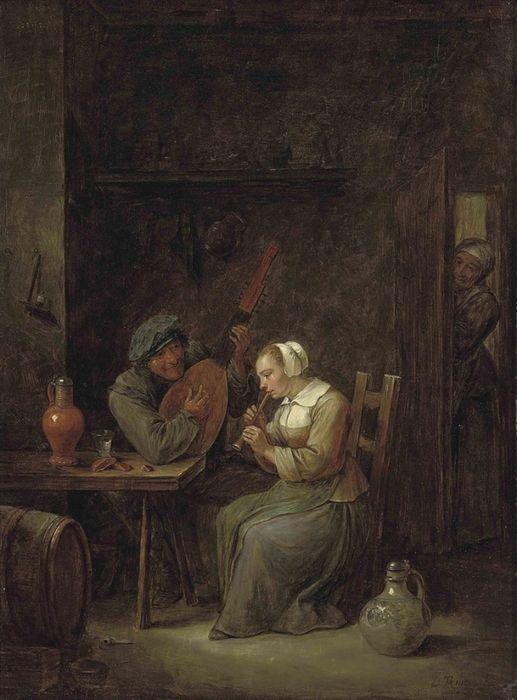 Давид Тенирс Младший (1610-1690) — Музицирующая пара в деревенском доме. Частная коллекция (картина находится на аукционе Кристи)