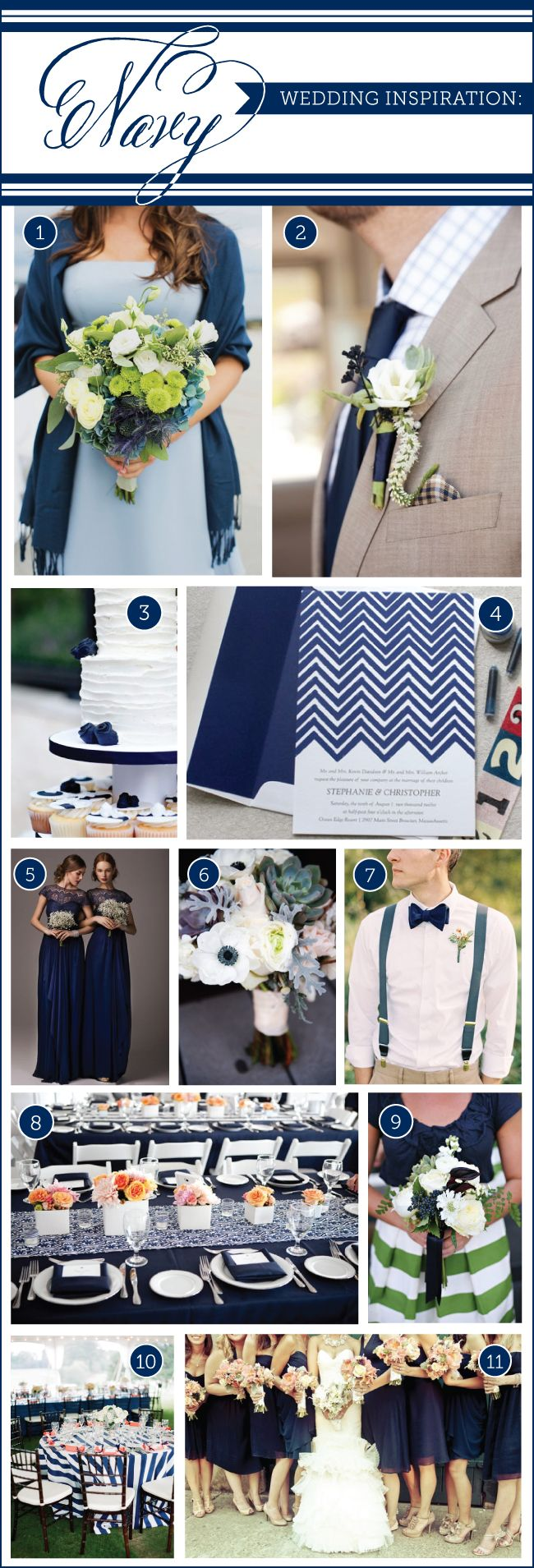 Inspiration for a navy blue wedding with Chevron wedding invitation by Delphine