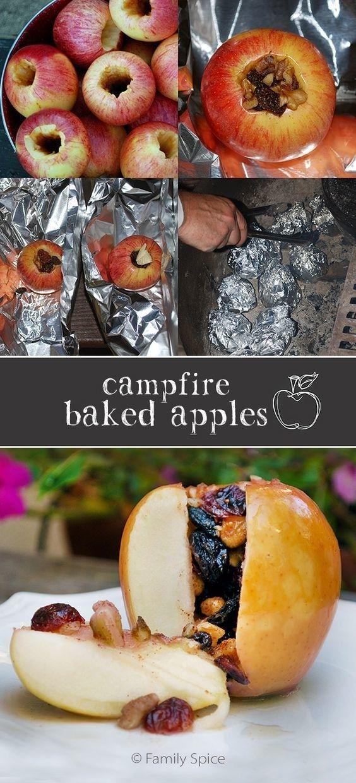 Pour une collation saine et rapide, évidez une pomme, remplissez-la avec un mélange de fruits à coques et de fruits secs, et faites cuire le tout sur le feu, dans du papier d'alu.