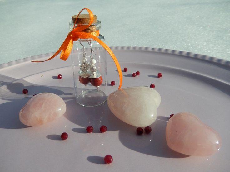 Ohrringe Edelsteine Corall Glas rot Liebe Herz Geschenk Valentinstag von DeinCharme auf Etsy