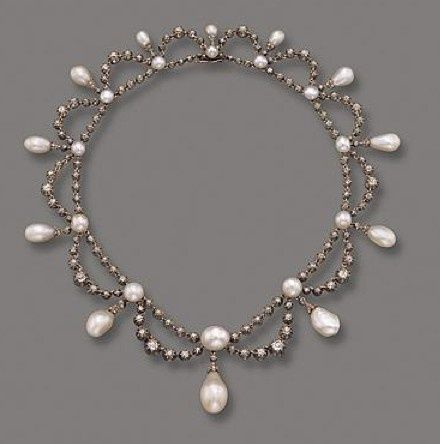 NATURAL PEARL AND DIAMOND NECKLACE, FRENCH, C IRCA 1860