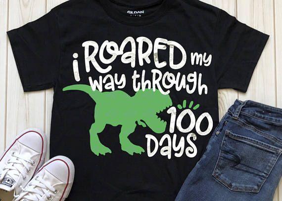 100th Day Of School Svg 100 Days Svg T Rex Svg Dinosaur Svg