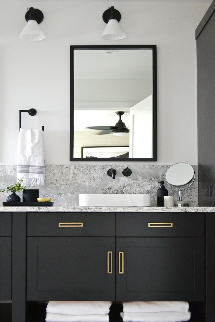 Jaclyn Peters Design Black And White Bathroom Cambria