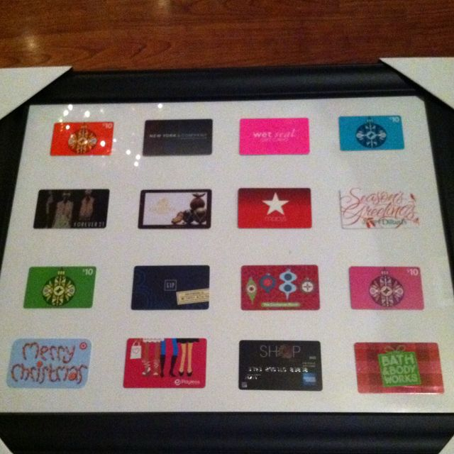 Best Christmas present ever! Husband framed gift cards...I thought I was  unwrapping a framed picture until I turned it over and saw the cards… |  Party! - Best Christmas Present Ever! Husband Framed Gift Cards...I Thought I