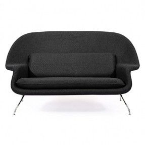 Kardiel Womb Mid-Century Modern Loveseat Sofa, Charcoal Tweed Cashmere Wool