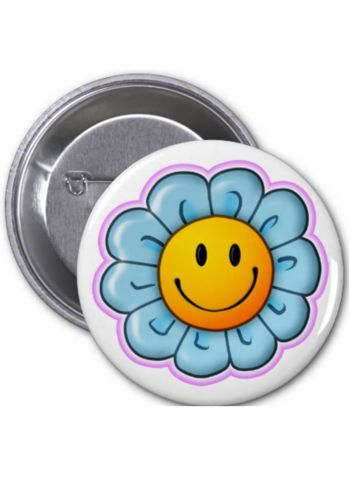"Need more flair? Express yourself with the Smiley Riley Sunflower button, available in Five sizes from 1.25""-6"" in diameter. The buttons are printed on 100% Recycled Paper and covered with scratch- and UV-resistant Mylar. Suggested age range 5-12 years."