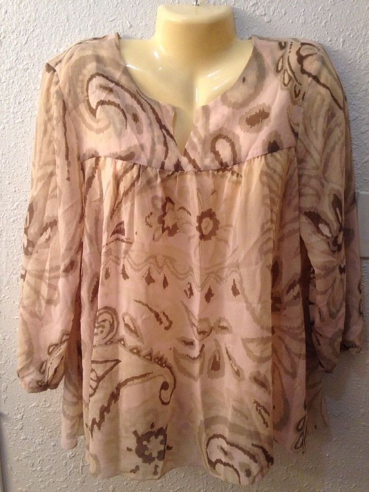 Ladies Lucky Brand Sheer Beige Long Sleeve Top XL, Extra Large #LuckyBrand #Blouse