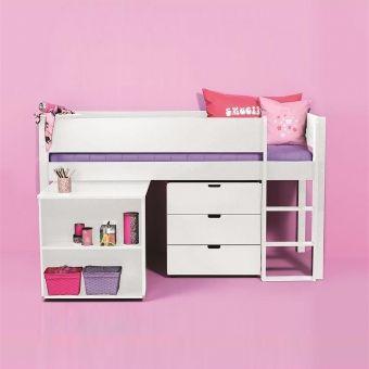 manis h hochbett halbhohes bett ragna mit schreibtisch 90x200cm. Black Bedroom Furniture Sets. Home Design Ideas