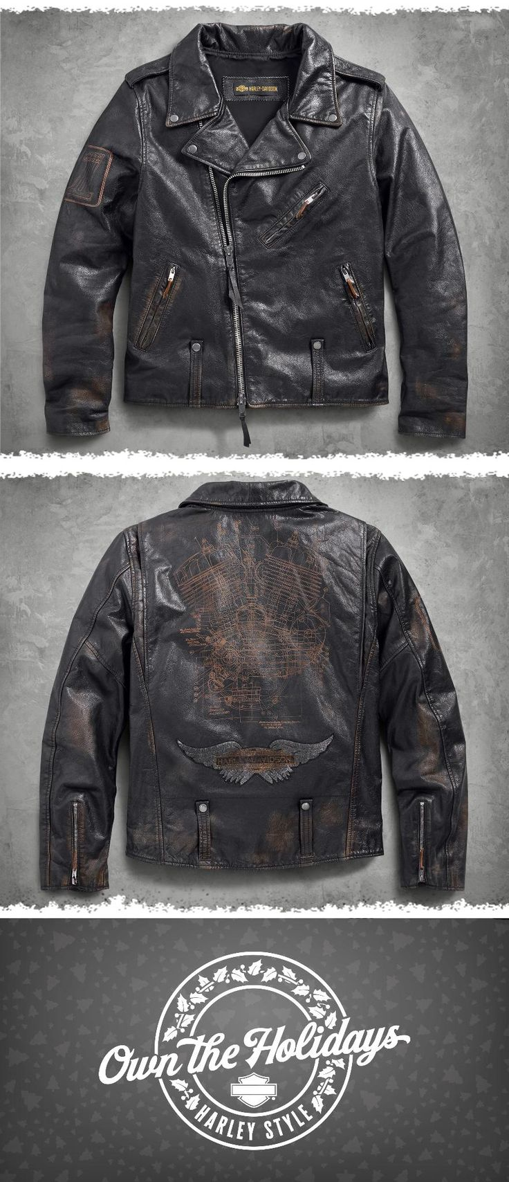 The iconic Biker Jacket. | Harley-Davidson Men's Master Distressed Slim Fit Leather Biker Jacket
