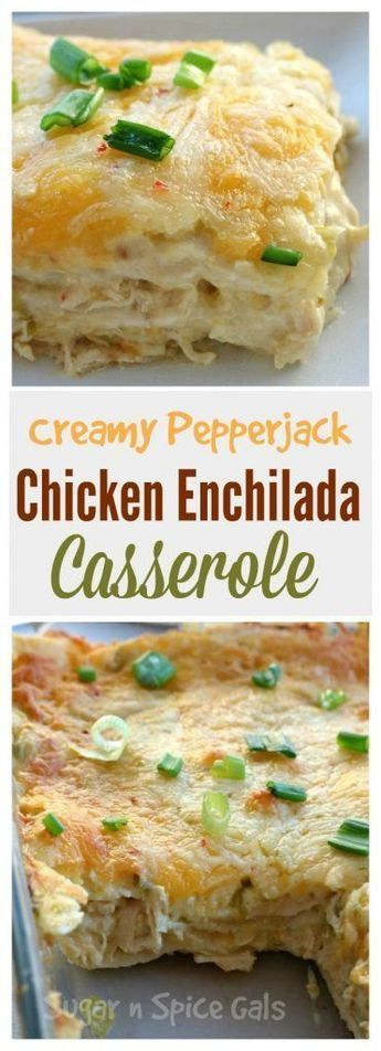 Creamy Pepper Jack Chicken Enchilada Casserole