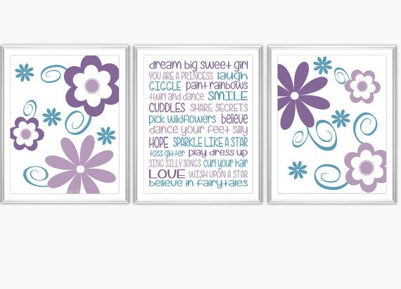 Purple Teal Girls Room Prints Nursery Wall Art by dezignerheart, $30.00