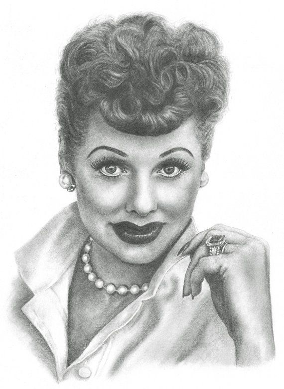 To Make: pearl necklace like Lucille Ball Pencil Portrait Drawing Print