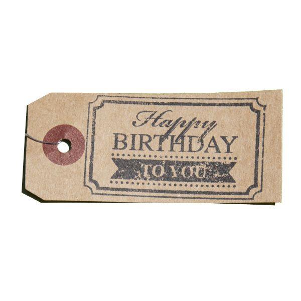 Tampon en bois vintage HAPPY BIRTHDAY TO YOU - Joyeux Anniversaire sur étiquette Kraft