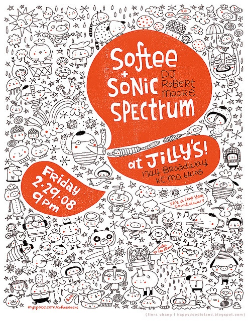 By Flora Chang | www.HappyDoodleLand.blogspot.com  Something I did for our old band Softee, 4 years ago... good time. : )