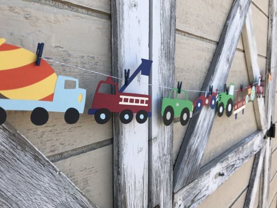 This is a listing for (1) transportation themed banner. Each vehicle measures approximately 5 wide. You will receive 9 coordinating colored mini clothespins and bakers twine for hanging.  Need colors changed? Send me a message