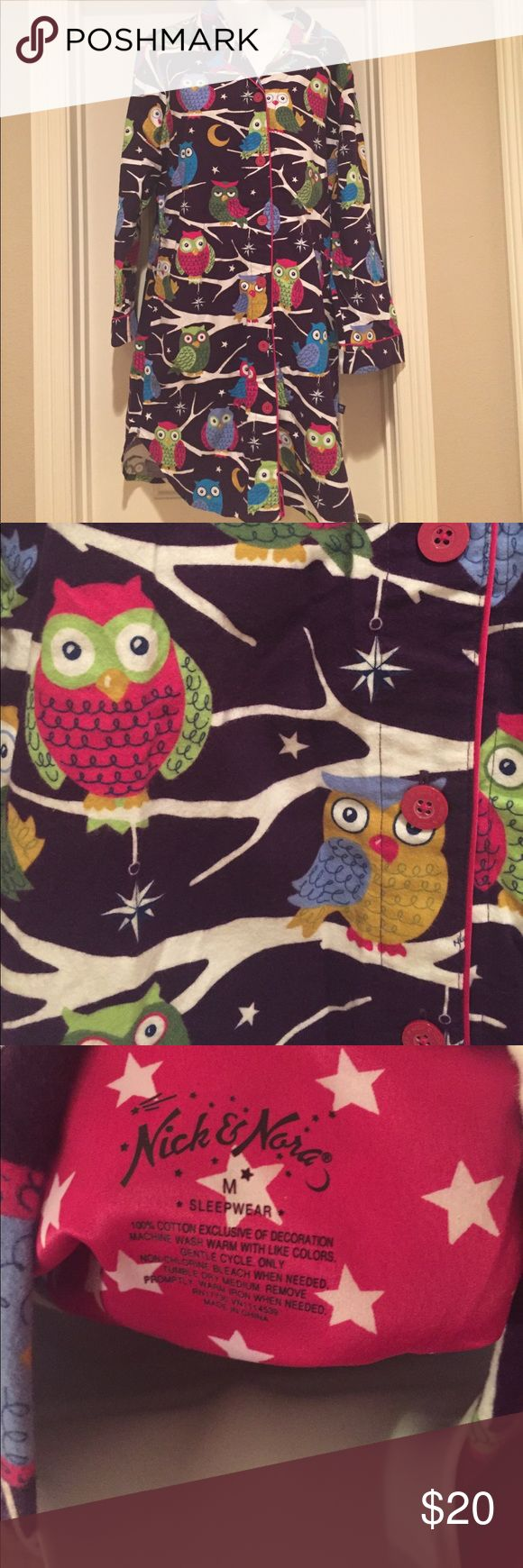 Nick and Nora Flannel Sleep Shirt Vibrant colors, fun owl print. Excellent pre-owned condition. Nick & Nora Intimates & Sleepwear Pajamas
