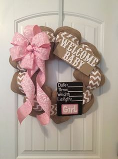 Gender Neutral Burlap Chevron Baby Wreath for hospital door with both Boy and Girl Chalkboard shower gift birthday newborn