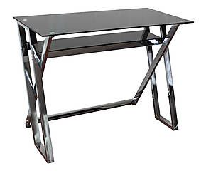 Bureau métal et verre, argenté et noir - 100*50