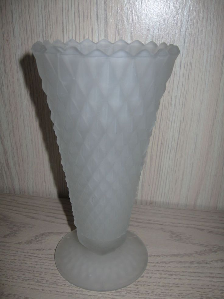 Indiana Glass Co Trumpet Vase White Frosted Diamond Design Saw Tooth Rim 1960's