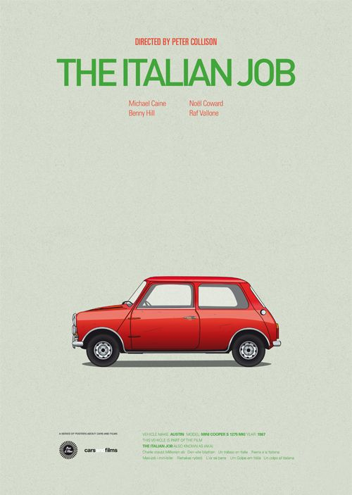 the italian job  #Poster of Iconic Movie Cars Capture the Essence of Films #movie #movieposter