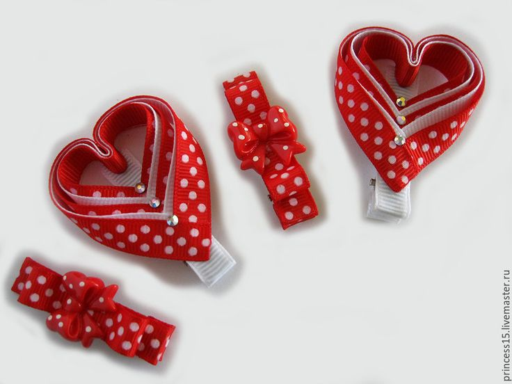 Купить Заколки для волос Сердечки 2 - бантики для волос, бантики для девочек, в горошек, Бантики из лент