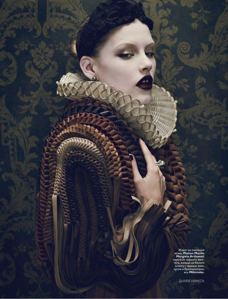 morganafaeunseelie:  Elizabethan-inspired editorial Ashley Smith by Sharif Hamza for Vogue Russia December 2010