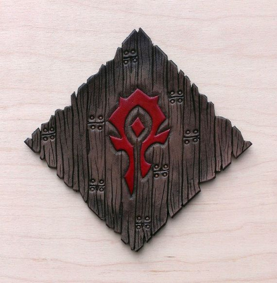 Leather coaster Crest of the Horde by TimnKirasArt on Etsy