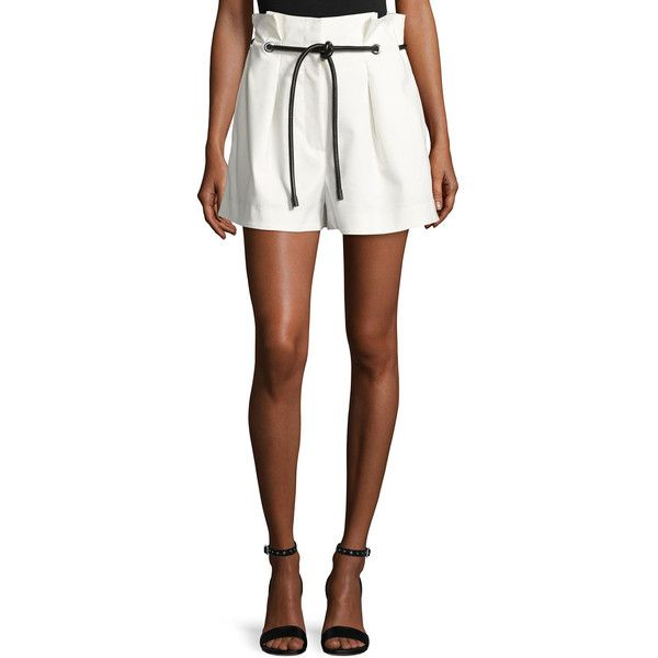 3.1 Phillip Lim Pleated Paperbag-Waist High-Rise Shorts ($325) ❤ liked on Polyvore featuring shorts, antique white, women's apparel shorts, eyelet shorts, 3.1 phillip lim shorts, pleated shorts, relaxed fit shorts and paperbag shorts