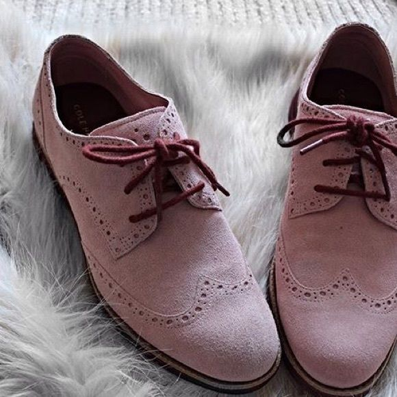 Cole Haan Gramercy Wing Oxford in Dusty Rose Soft Nubuck upper, wingtip detail, fully lined, fully padded sock lining, lightweight EVA outsole. Cole Haan Shoes Flats & Loafers