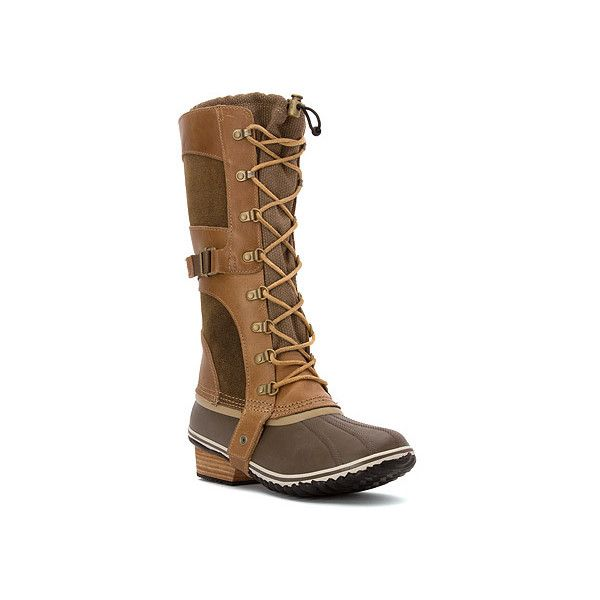 SOREL Conquest Carly ($220) ❤ liked on Polyvore featuring shoes, boots, women, waterproof boots, knee high lace up boots, laced up boots, lace up boots and tall lace up boots