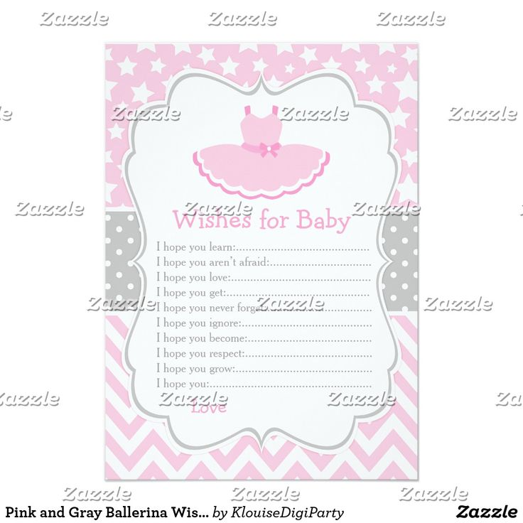 Pink and Gray Ballerina Wishes for Baby Advice Card